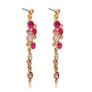NEOGLORY Fashionable Pink Crystal E..