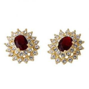 ITALINA 18K RGP Stud Earrings (Red)