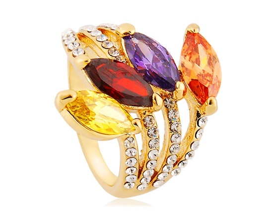 18k gold plated alloy 4 oval pattern decorations ring 9 for 5 golden rings decorations
