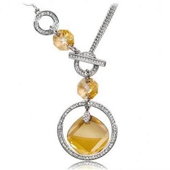 Crystal & Zircon Decorated Necklace