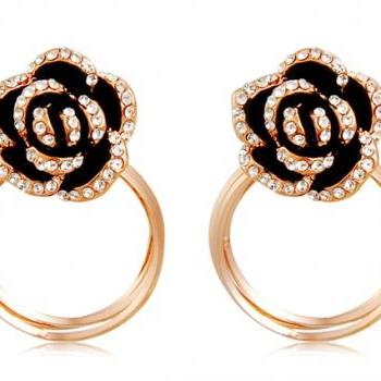 Flower Shaped Three-ring Decoration Earrings with Crystal Rhinestone (Black & Golden)