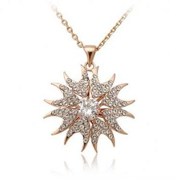 Stylish Sunflower Shaped Diamond Necklace (Gold)