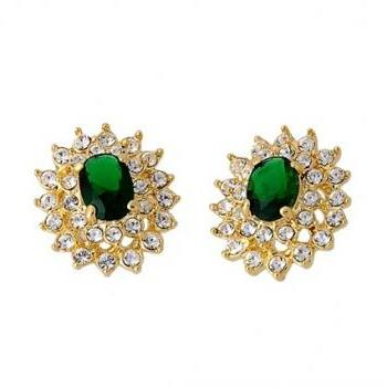 ITALINA Emerald &Crystal Stud Earrings (Green)