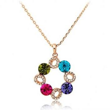 ITALINA Rolled Gold Plated Necklace with Colorful Crystal Pendant