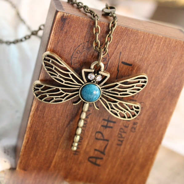 Vintage Dragonfly Pendant Necklace